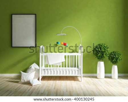 Green interior of a nursery. 3d illustration - stock photo