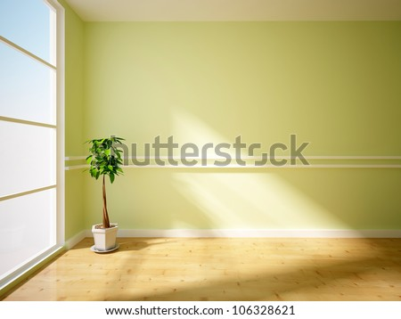green interior with flower - stock photo