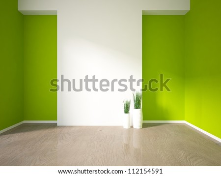 green interior with grass in vases - stock photo