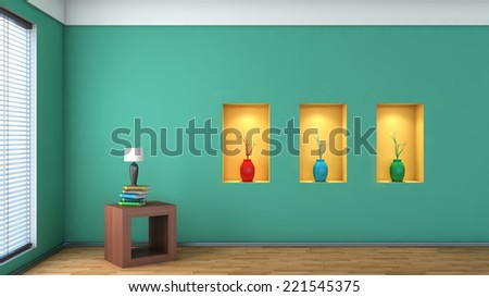 green interior with white shelf and vases. 3D illustration - stock photo
