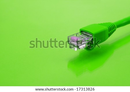 green internet cable close up - stock photo