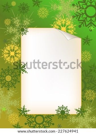 green invitation letter with snowflake adorn