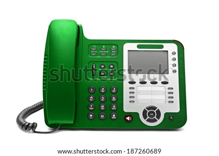 Green IP office phone isolated on white background - stock photo
