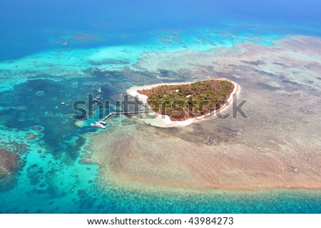 Green Island Great Barrier Reef, Cairns Australia seen from above