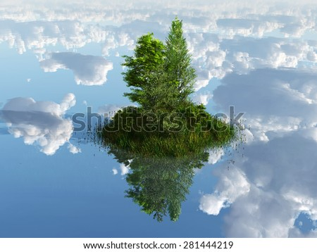 green island surrounded by clouds - stock photo