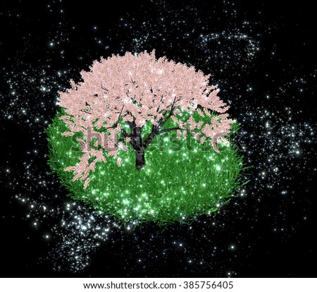 Green Island with cherry blossom in the night sky a distant galaxy - stock photo