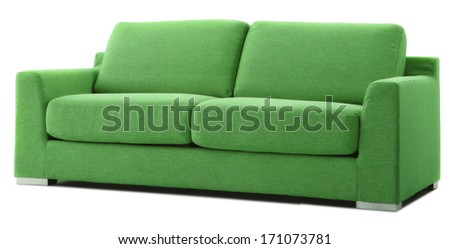 green isolated couch - stock photo