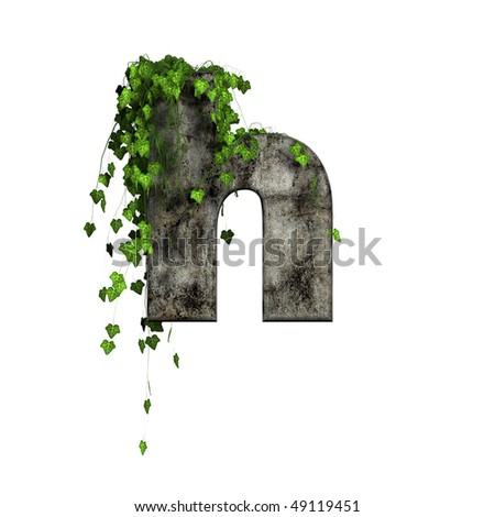 green ivy on 3d stone letter - h