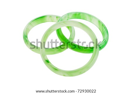 Green jade bracelet isolate on the white. - stock photo