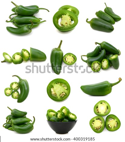 Green jalapeno peppers collection - stock photo