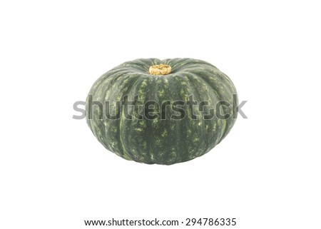 Green Japanese Pumpkin isolated on white background - stock photo