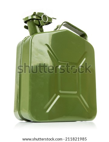 Green jerrycan isolated on white background - stock photo