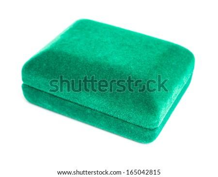 green jeweller box on white - stock photo