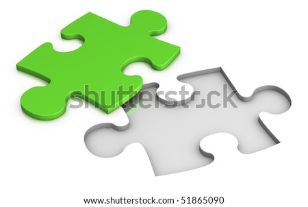 green jigsaw puzzle piece - stock photo