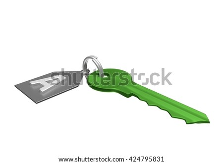 Green key and silver trinket with silver ring for locking lock and keep your private in safe. Trinket tag with energetic value of house. 3D illustration - stock photo