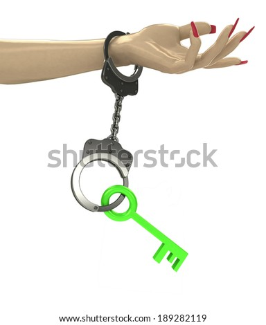 green key in chain as criminality concept double illustration - stock photo