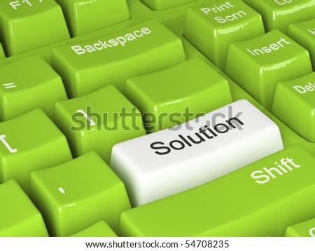 green keyboard with white solution button 3d - stock photo