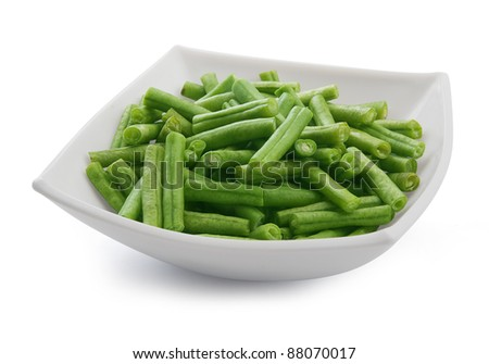 Green kidney bean in the white bowl - stock photo