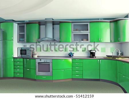 green kitchen - stock photo
