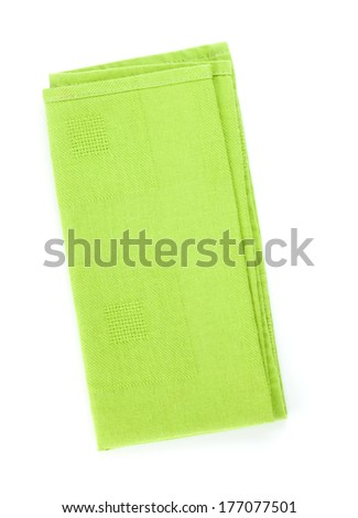 Green kitchen towel. Isolated on white background - stock photo