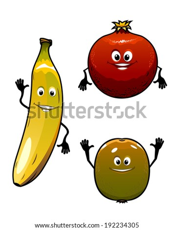 Green kiwi, red pomegranate and yellow banana fruits isolated on white background in cartoon style. Vector version also available in gallery - stock photo