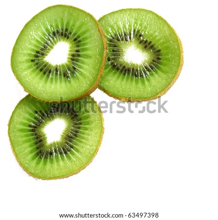 Green kiwi slices isolated on white can use as background - stock photo