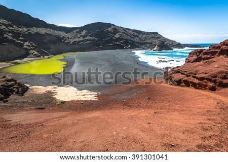 Green Lagoon at El Golfo, Lanzarote, Canary Islands - stock photo