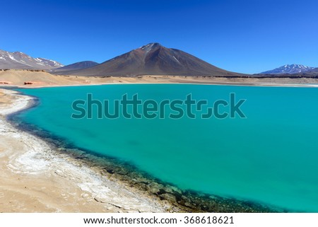Green Lagoon (Laguna Verde), Chile  - stock photo