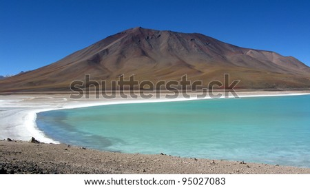 Green Lagoon,Uyuni Bolivia panorama landscape - stock photo
