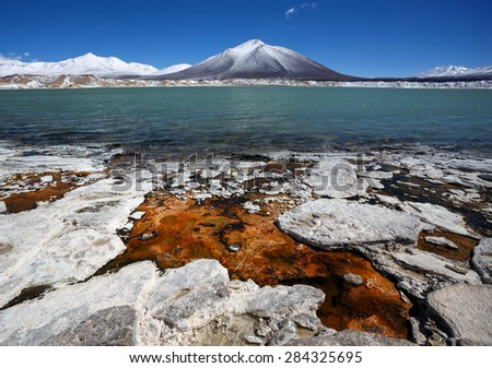 Green Lagune (Laguna Verde) on the border of Argentina and Chile