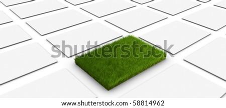 Green landmark with white rectangles - stock photo