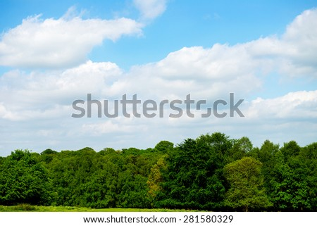 Green Landscape in the Park with Blue Sky. England, Uk - stock photo
