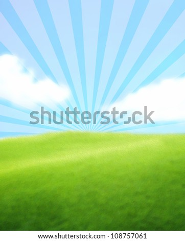 Green Landscape with Blue Sky - stock photo