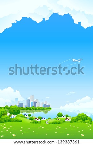 Green Landscape with City aircraft lake and flowers - stock photo