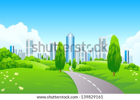 Green landscape with city road and trees - stock photo