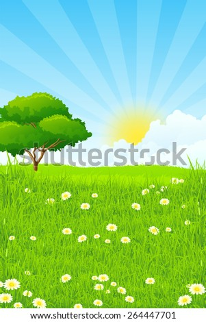 Green Landscape with clouds and sun and one Green Tree - stock photo