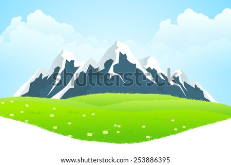 Green Landscape with clouds flowers and mountains - stock photo