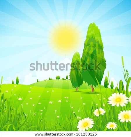 Green Landscape with  Flowers Trees and Clouds - stock photo
