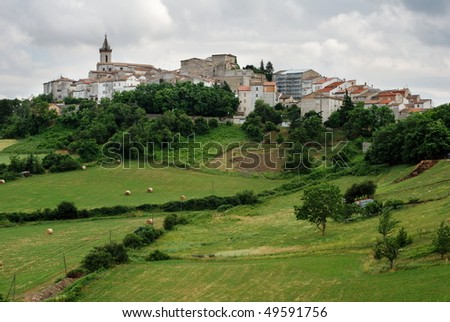Green landscape with little village of Montagano in Molise, center Italy - stock photo