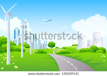 Green Landscape with Road, Airplane, City, Windmills and  Nuclear Power Plant