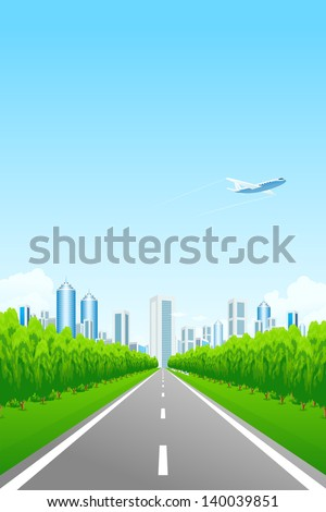 Green landscape with road trees city and clouds - stock photo