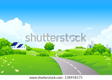 Green landscape with road trees city country-house and clouds