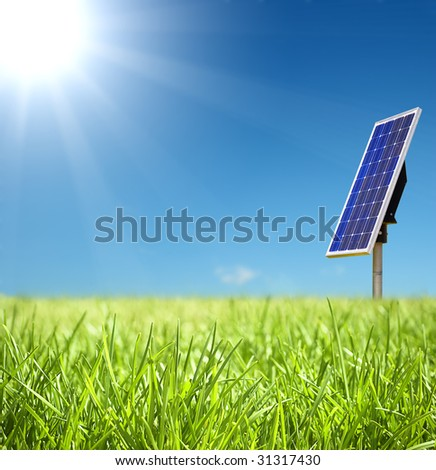 Green Landscape with solar cell - stock photo
