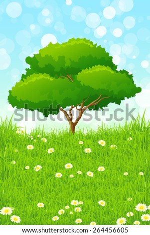 Green landscape with Tree, Grass and Flowers - stock photo