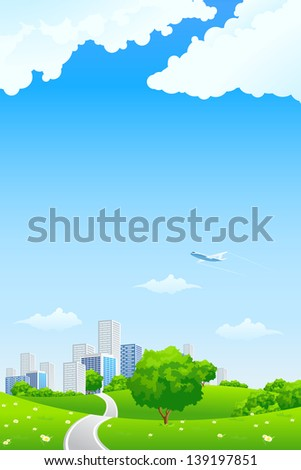 Green landscape with tree road city and clouds - stock photo