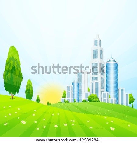 Green landscape with Trees, City and Clouds