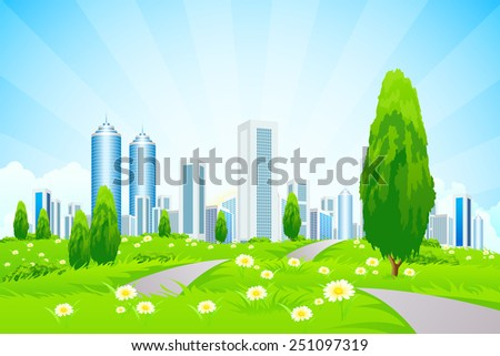 Green landscape with Trees, City, Roads and Clouds - stock photo