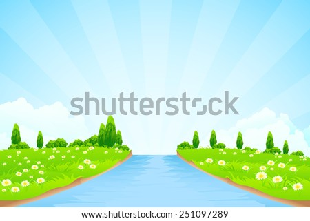 Green Landscape with trees clouds flowers and river - stock photo
