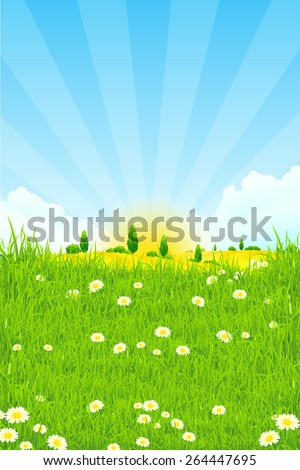 Green Landscape with trees clouds flowers and Sun - stock photo