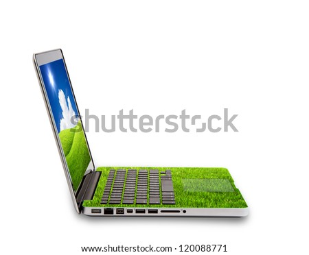 Green Laptop isolated on white concept of saving energy - stock photo